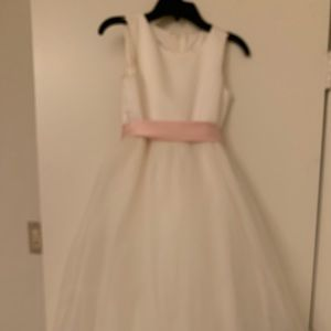 Satin Flower Girl Dress with Tulle Skirt